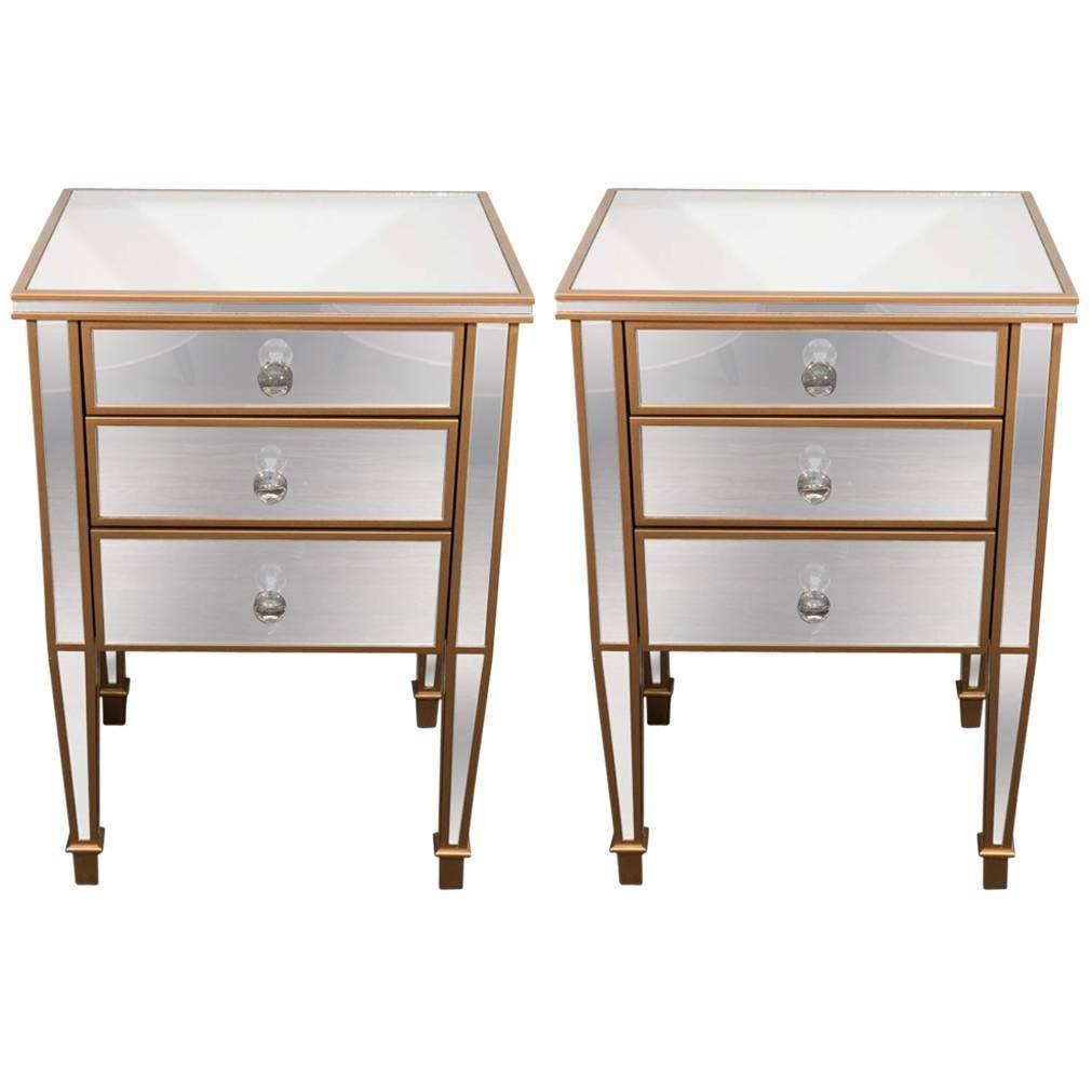 pair of 3 drawer gold trim mirrored nightstands