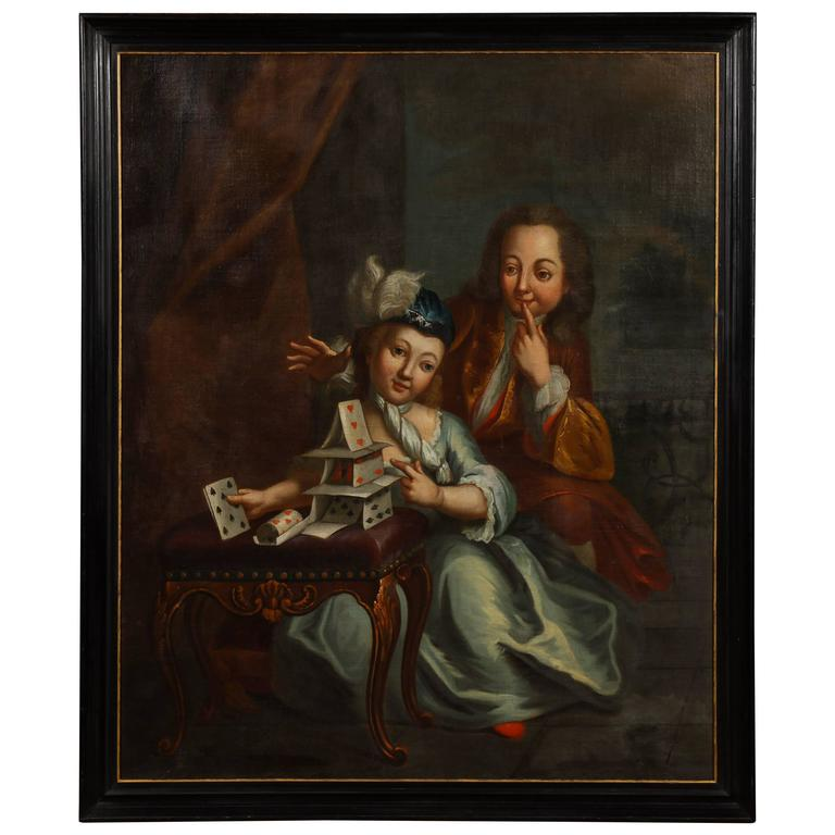 German 18th Century Oil Painting House Of Cards For Sale
