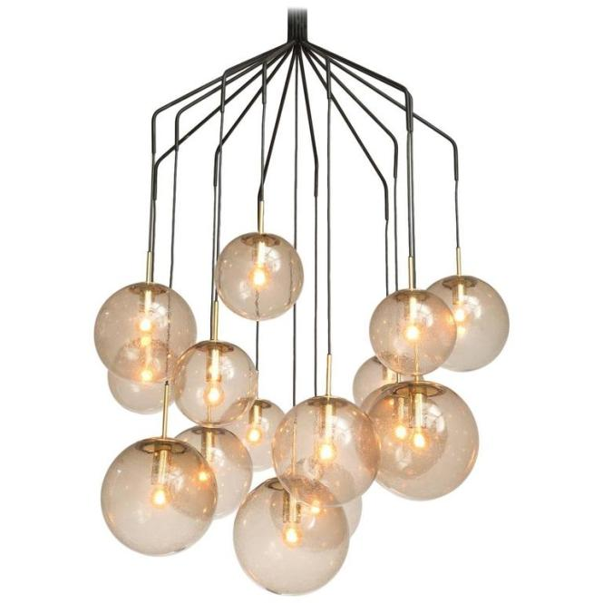 Large Spider Chandelier With 15 Spheres In Smoked Glass And Brass