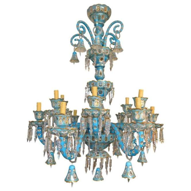 Antique Bohemian Hand Cut Crystal Blue Chandelier 1