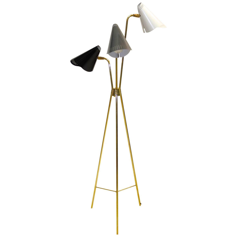 Gerald Thurston For Lightolier Brass Tripod Floor Lamp For Sale At 1stdibs