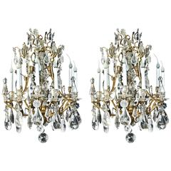 Pair Of Fine Antique French Bagues Style Gilt Bronze Rock Crystal Chandeliers