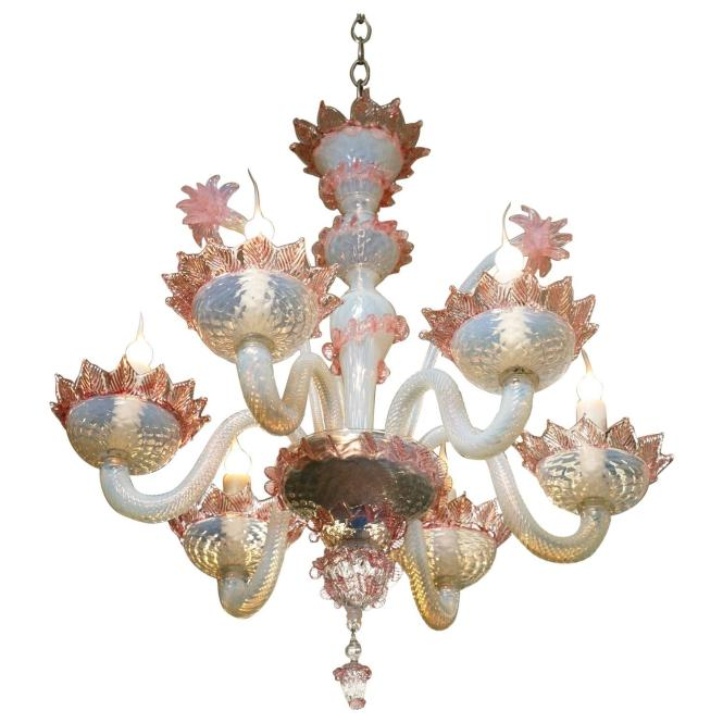Lovely Antique Blue And Pink Murano Glass Chandelier At 1stdibs