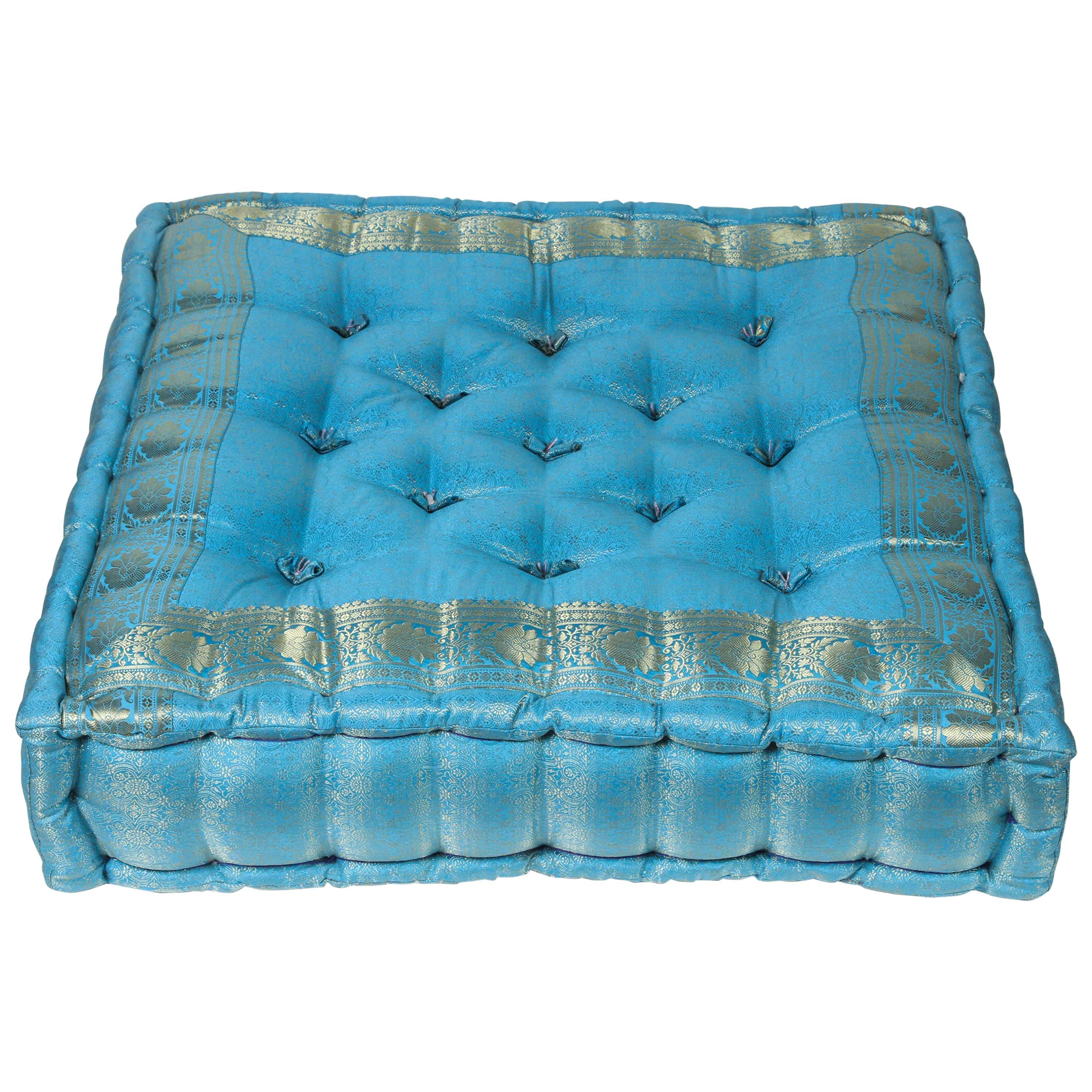 moroccan oversized turquoise tufted floor pillow cushion