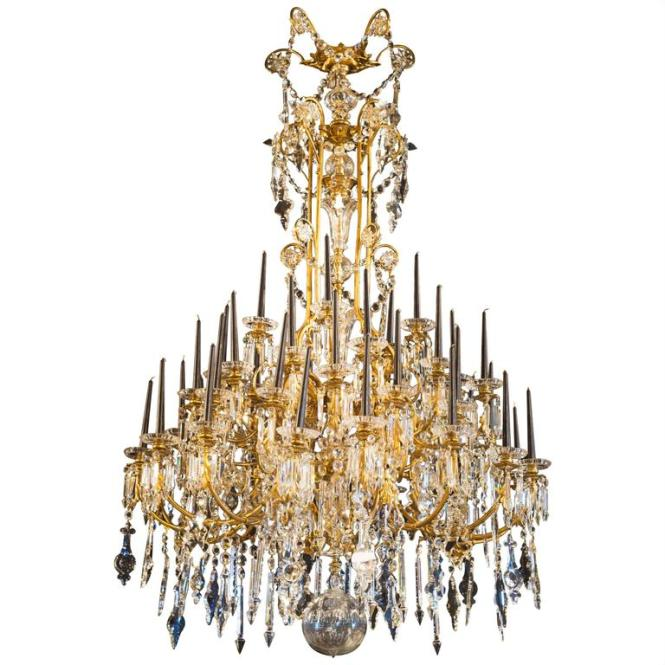 Monumental 19th Century Chandelier With Crystal Bells Forty Four Light Points 1