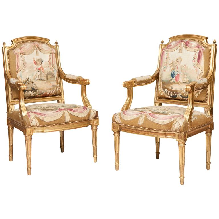 Louis XVI Period Giltwood and Tapestry Armchairs, Met Gala
