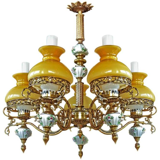 Antique French Victorian Porcelain Bronze Opaline Yellow Glass Shades Chandelier For