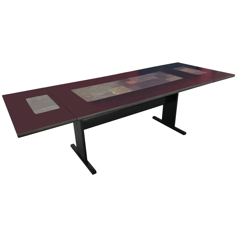 chic ebonized slate tile topped danish dining table