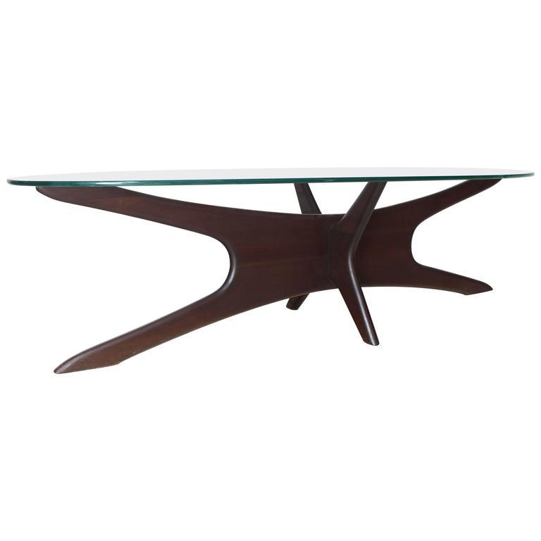 adrian pearsall mid century modern star base oval glass top coffee table jacks