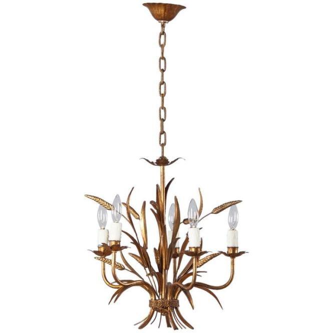 Gilded Metal Sheaf Of Wheat Chandelier Italy 1940s 1