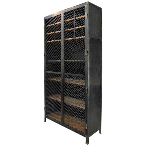 Large Industrial Mesh Doors Bookcase Iron Cabinet  1930s at 1stdibs Large Industrial Mesh Doors Bookcase Iron Cabinet  1930s For Sale
