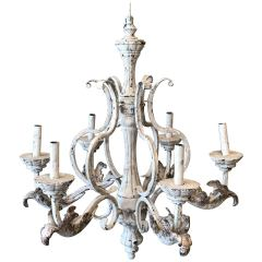 French Style Painted Acanthus Leaf Six Arm Iron Candlestick Chandelier