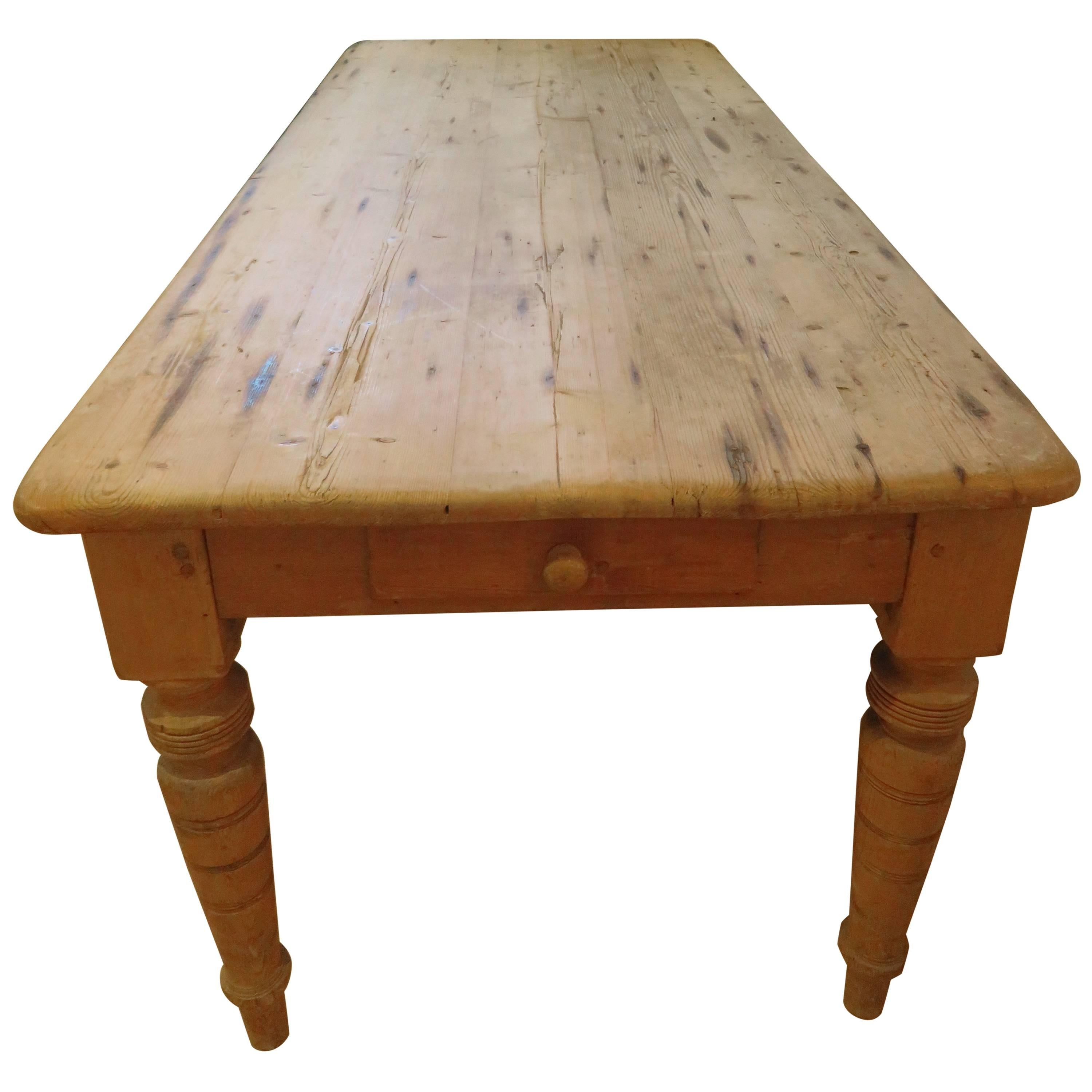 Large New England Antique Country Pine Dining Table Or
