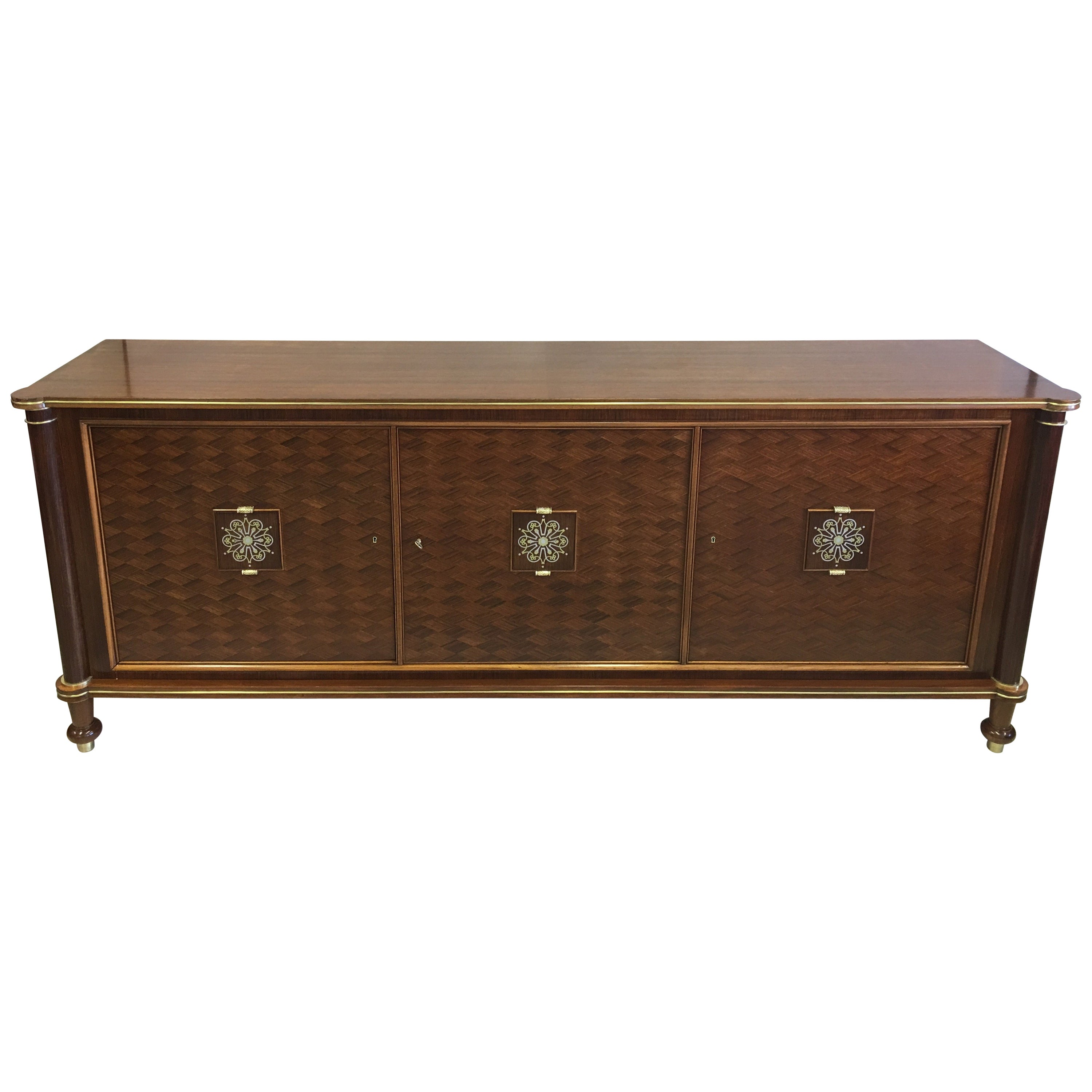 french mid century modern neoclassical mahogany sideboard signed by jules leleu for sale at 1stdibs
