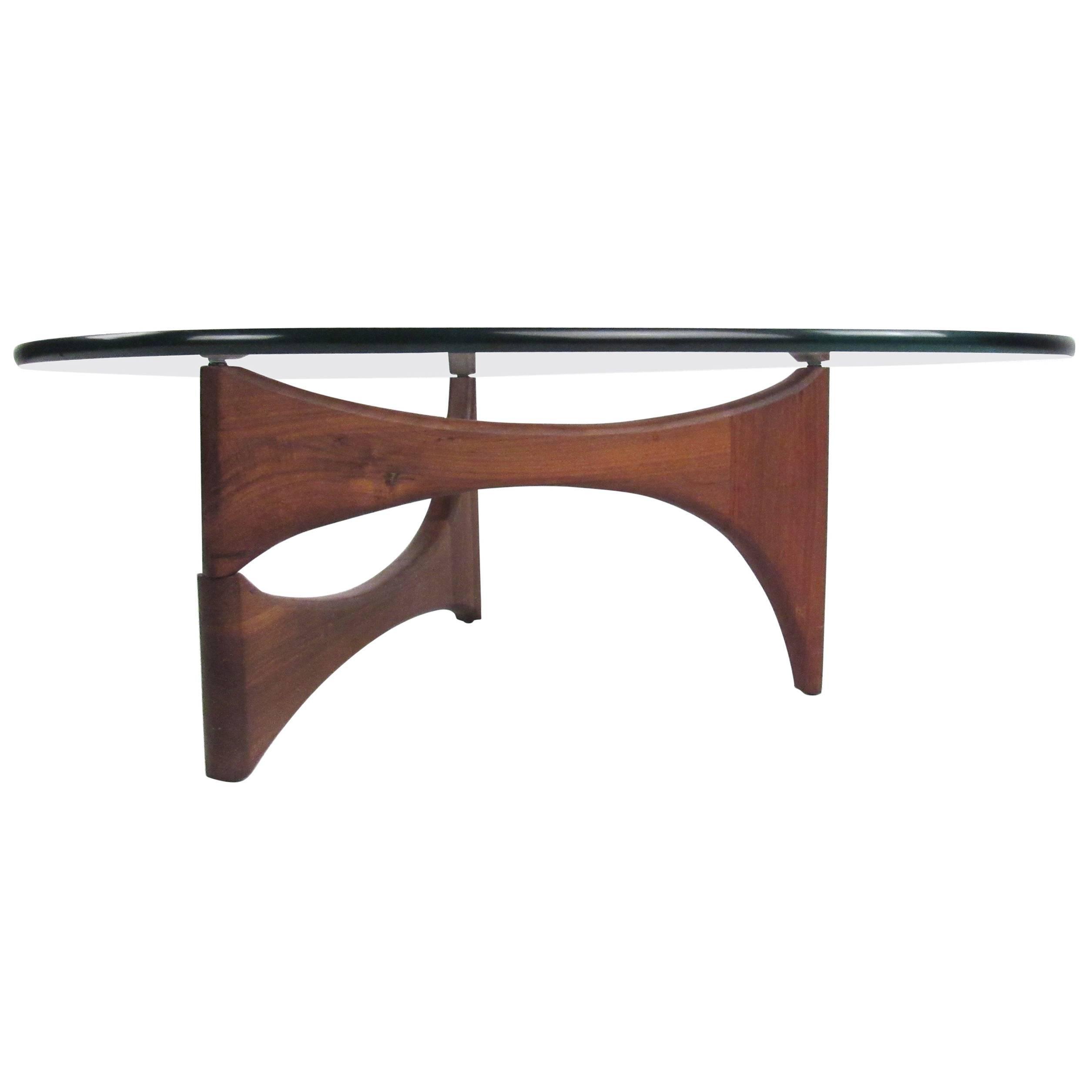 mid century modern noguchi style triangular glass top coffee table