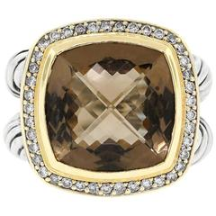 Robert Lee Morris Modernist Smoky Quartz Citrine Gold Ring