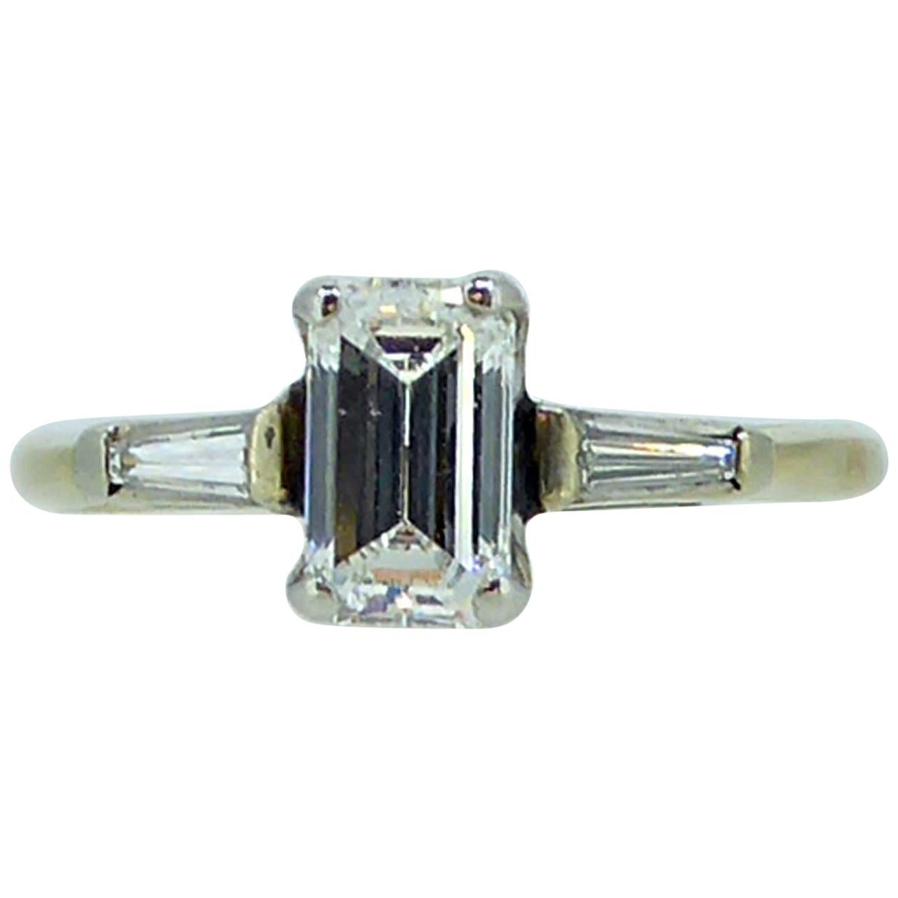 1 58 Carat Diamond Solitaire Ring with Tapered Baguette Shoulders in     Modern Art Deco Emerald Cut Diamond Ring  Tapered Baguette Diamond Shoulders