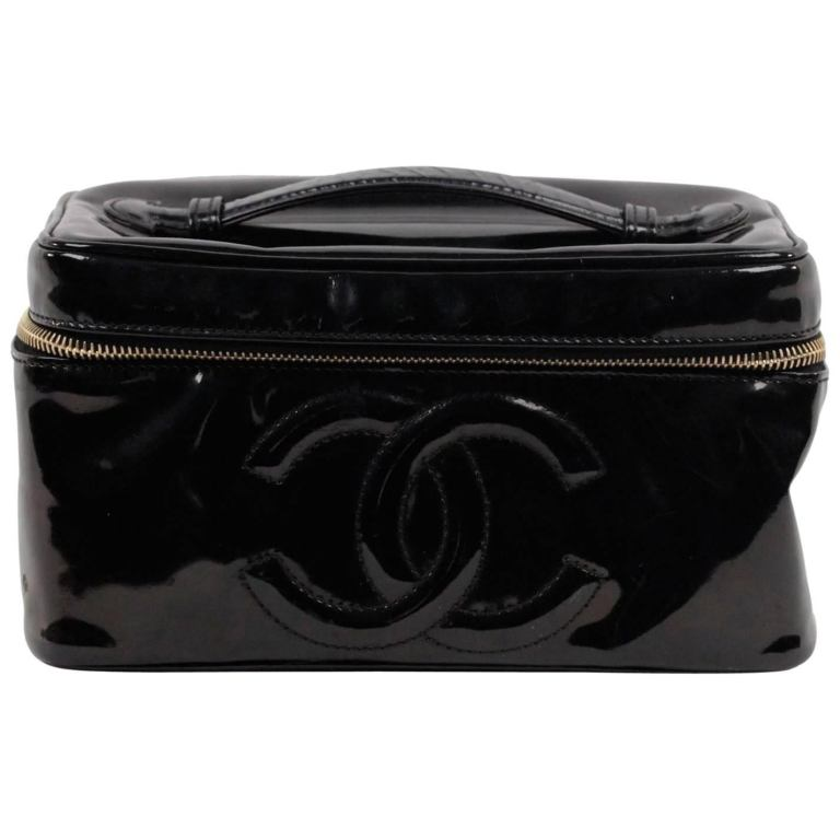8902a737a5 Chanel Black Patent Leather Cosmetic Bag Vanity Case Handbag Purse