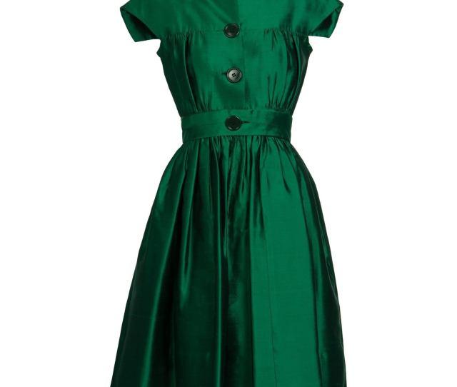 S Henri Bendel Emerald Green Silk Belted Full Skirt Cocktail Dress For Sale