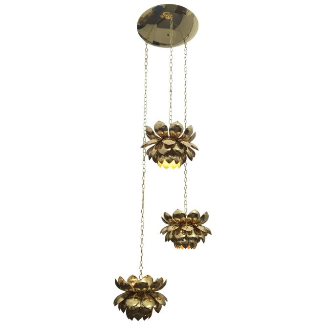 Massive Feldman Brass Chandelier With Large Lotus Pendants For At 1stdibs