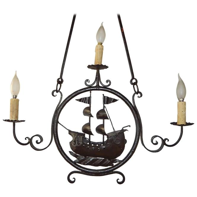 1870 Italian Wrought Iron Nautical Ship Boat Chandelier For At 1stdibs