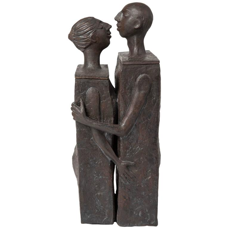 Embracing Male And Female Ceramic Figural Lidded Box