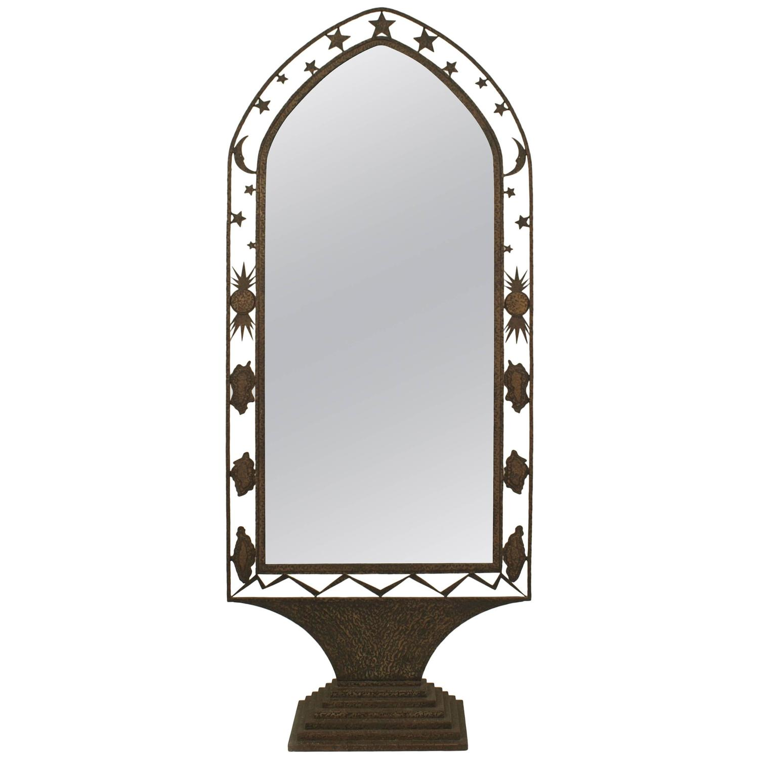 French Art Deco Wrought Iron Cheval Mirror For Sale At 1stdibs