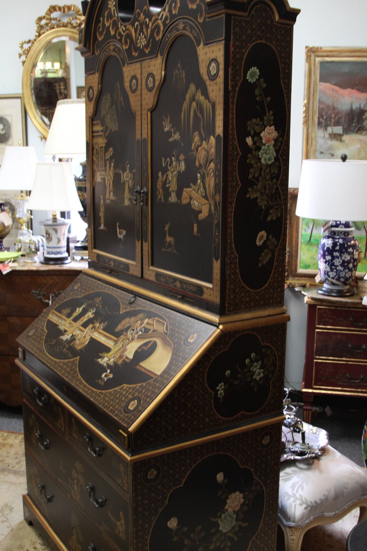 Maitland Smith Queen Anne Style Chinoiserie Secretary Desk