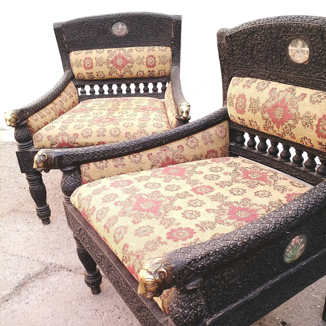 Pair Of Antique Bohemian Chairs Hand Carved Teak