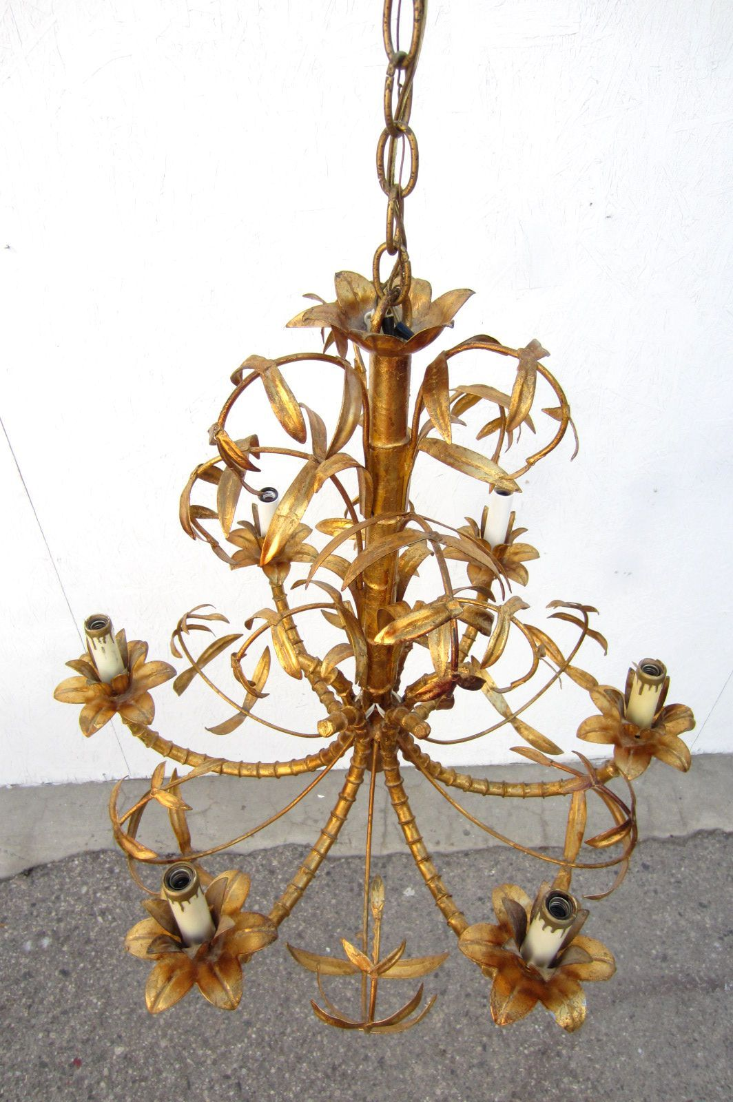 Hollywood Regency Gold Gilded Faux Bamboo Chandelier Tole