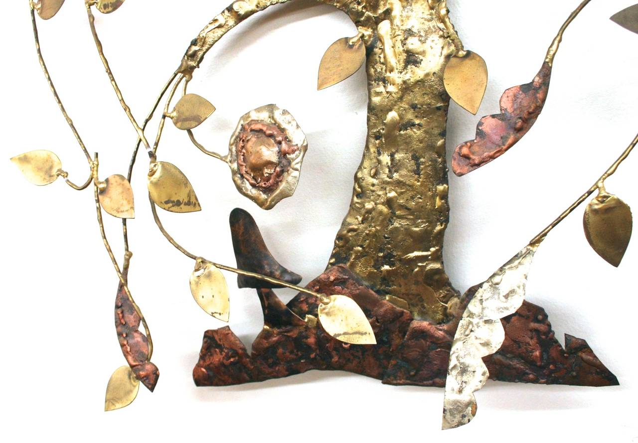 Mid-Century Modern Brass And Copper Willow Tree Sculpture