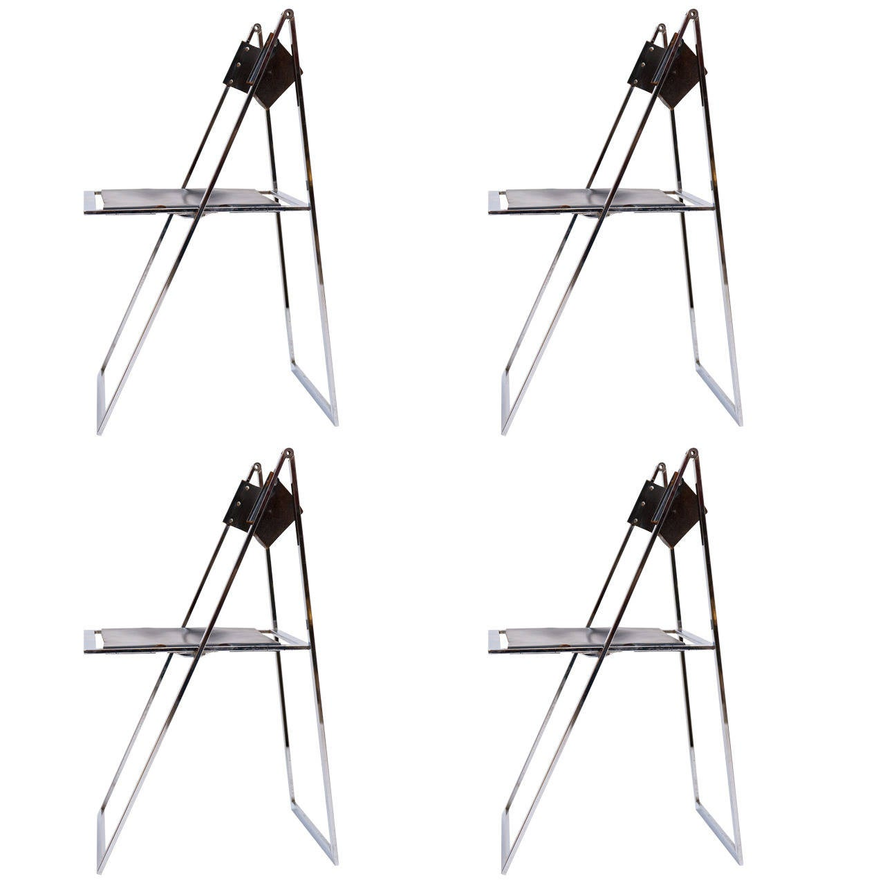 Chrome And Leather Folding Chairs For Sale At 1stdibs