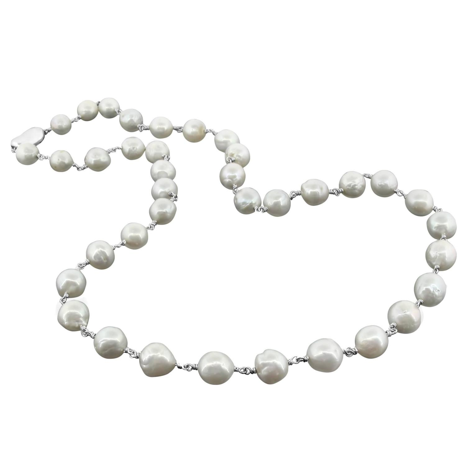 Freshwater Seed Pearl Sterling Silver Clasp Necklace For