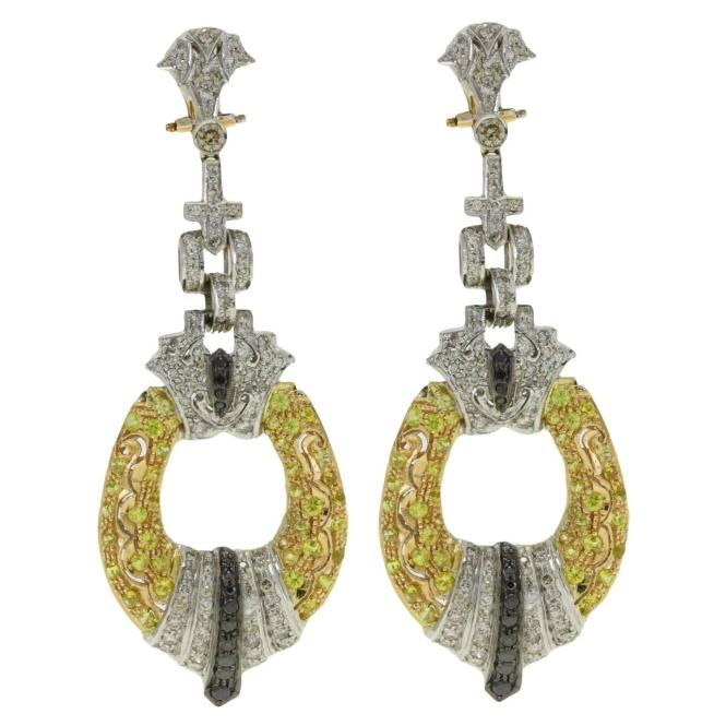 Luise Black And White Diamond Shire Yellow Gold Chandelier Earrings For At 1stdibs