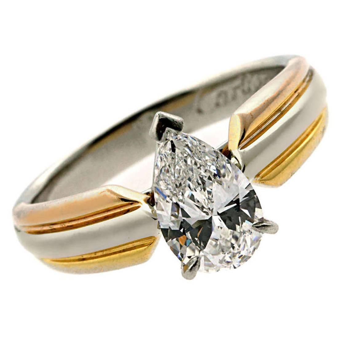 Cartier Pear Shaped Diamond Gold Platinum Engagement Ring at 1stdibs