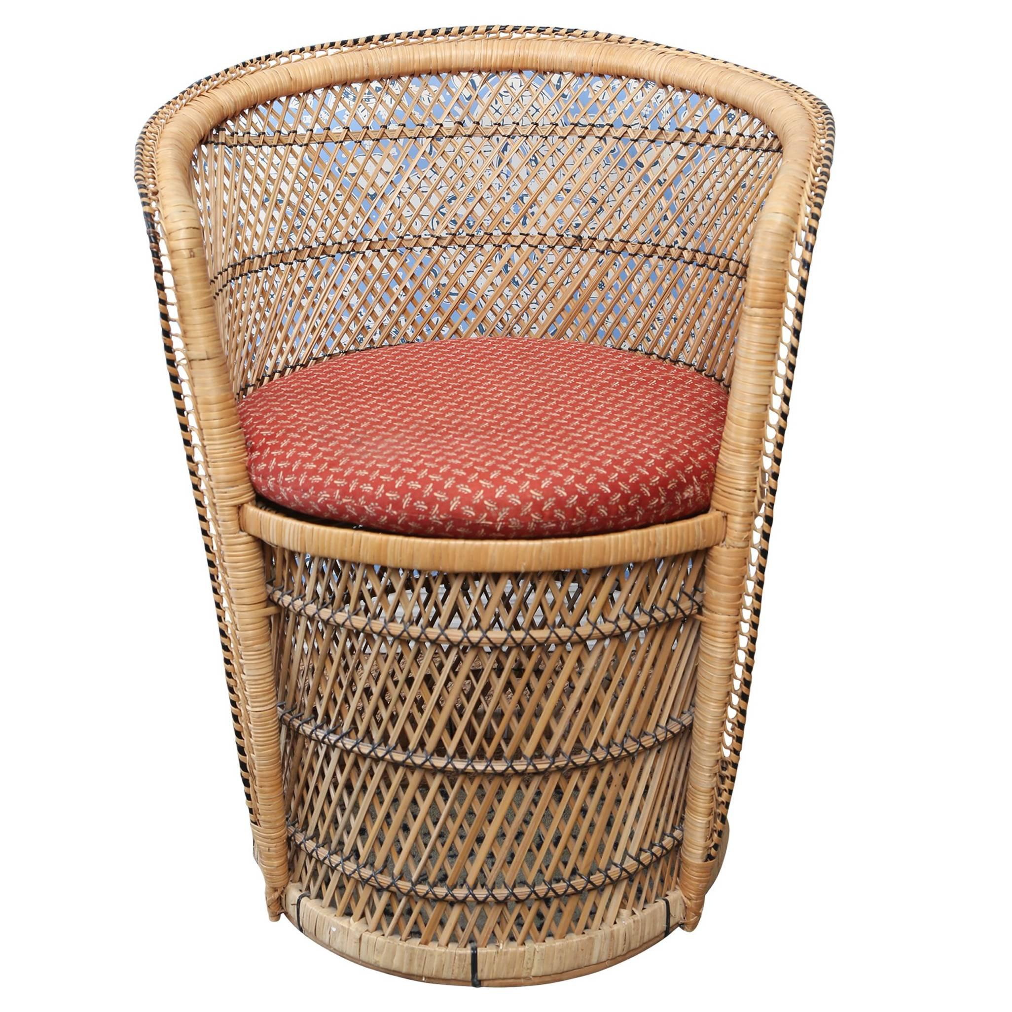 Iconic Emmanuelle Chair Midcentury  Rattan Peacock Chair For Sale at     Vintage Woven Rattan Peacock Chair
