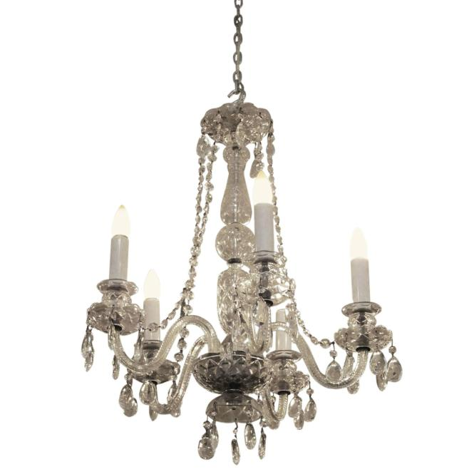 1940s Red Waterford Five Arm Chandelier With Czech Crystals For At 1stdibs
