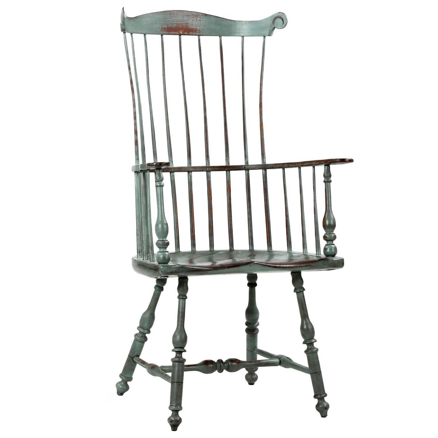 American Distressed Painted Fanback Windsor Armchair 20th