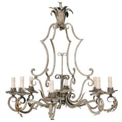 French Painted Iron Eight Light Chandelier With Acanthus Leaves And Scrolls