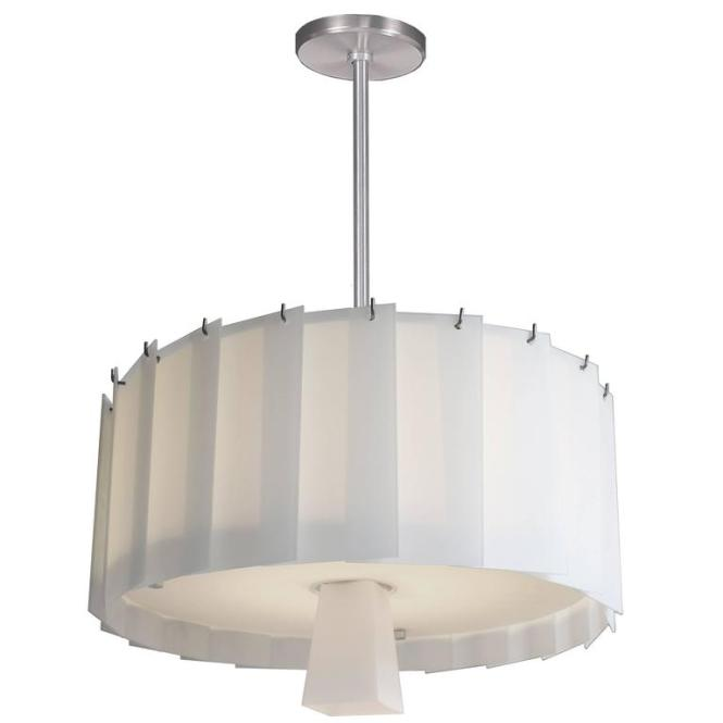Art Deco Style Circular Chandelier With Overling White Glass Panels 1