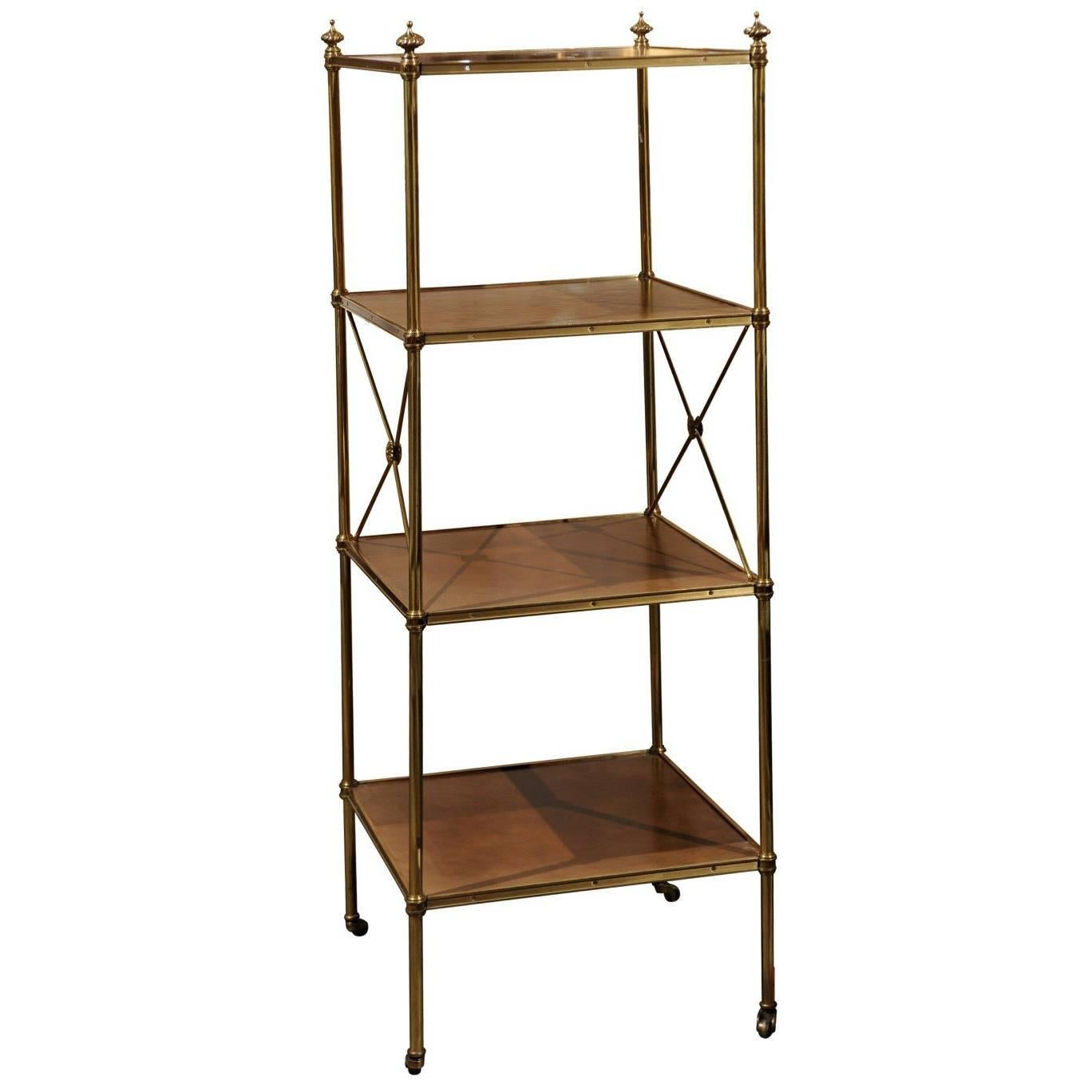 Maison Jansen Style Etagere Or Bookshelf In Steel And