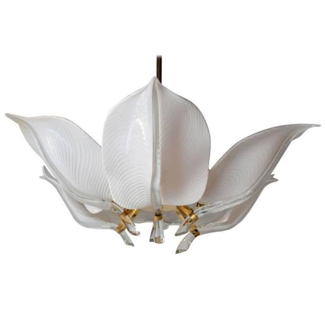 Franco Luce Murano Glass Lotus Leaf Chandelier Circa 1970s 1