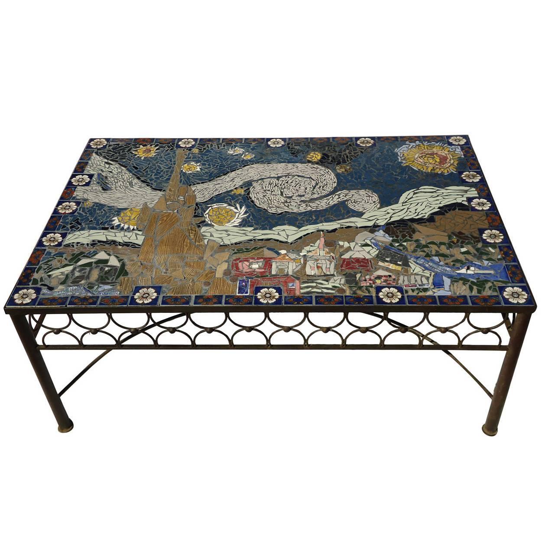 studio mid century mosaic tile coffee table van gogh style california