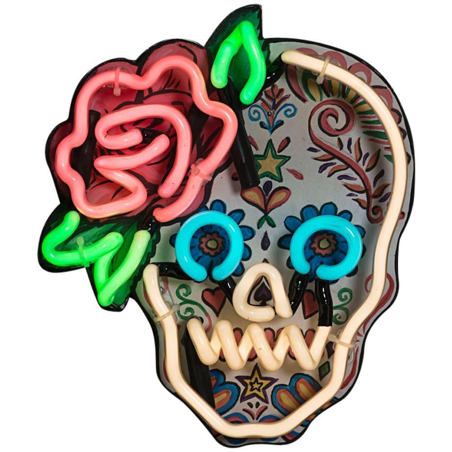Mexican Sugar Skull With Neon Outline And Rose Detail For
