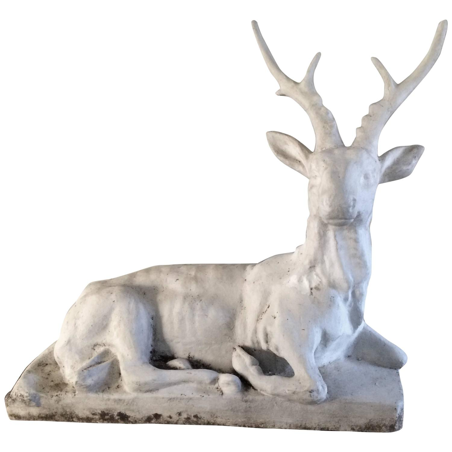 French Concrete Garden Deer For Sale At 1stdibs