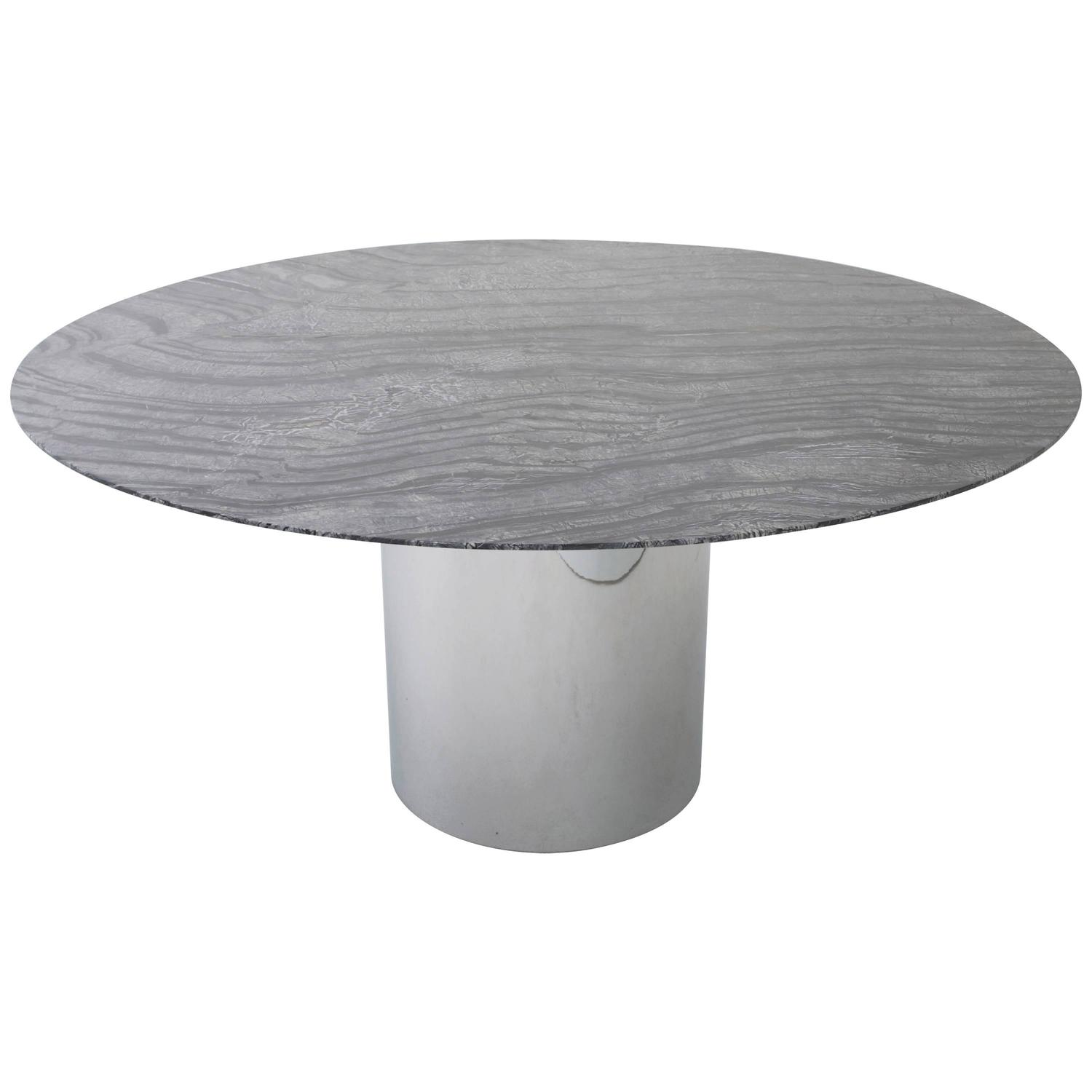 knoll dining table with  quot round marble top at stdibs: round white marble dining table