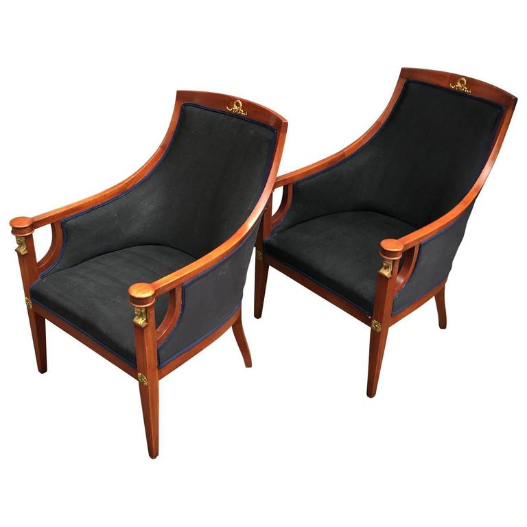 Pair Of 19th Century Empire Armchairs At 1stdibs