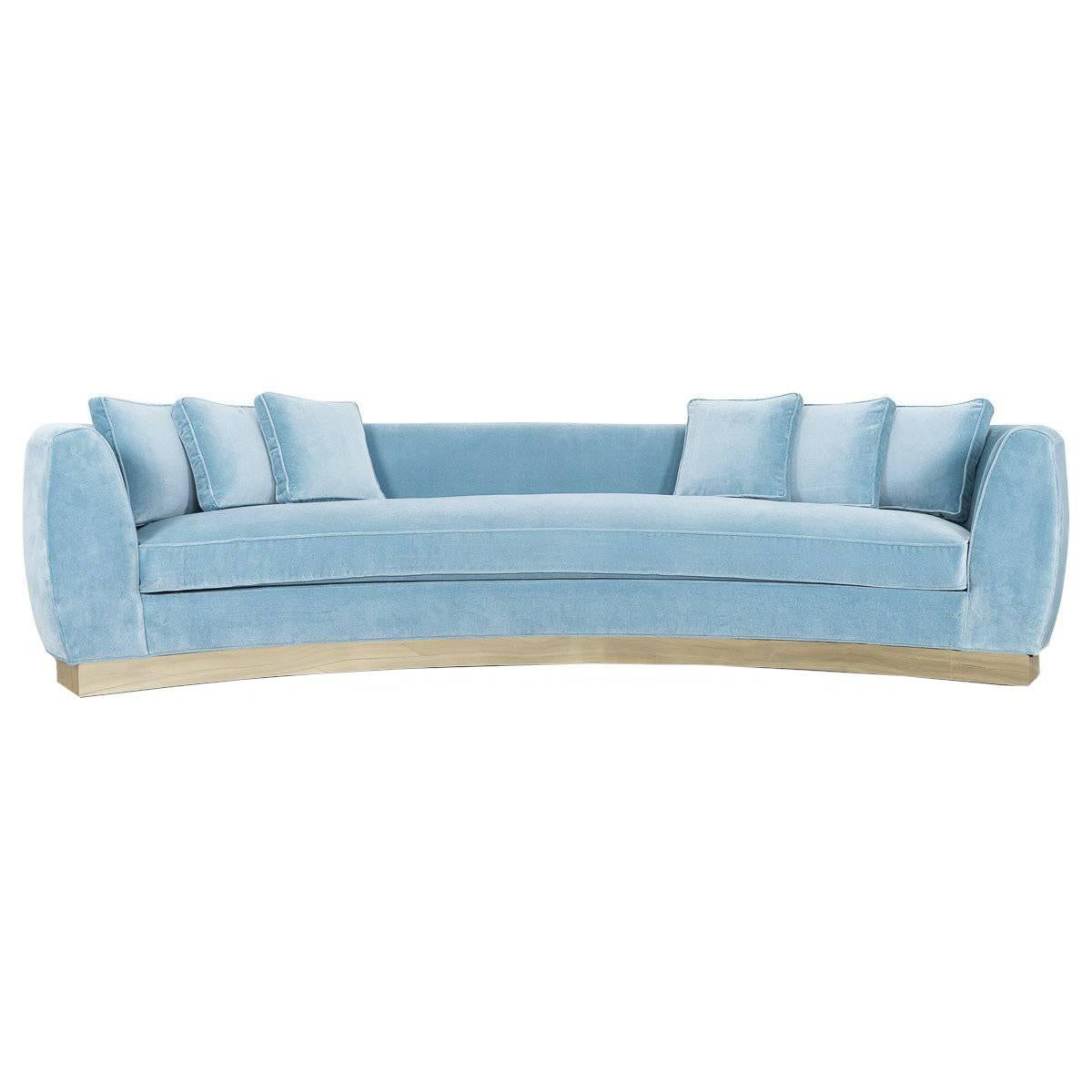 art deco style curved sofa in velvet upholstery with brass toe kick base 10 foot