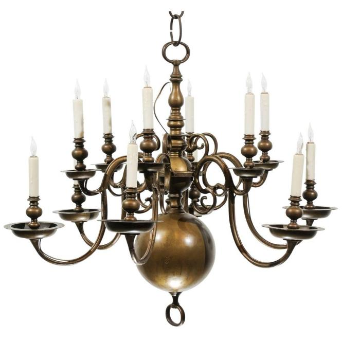 Large 18th Century Dutch Brass Chandelier With 12 Lights For