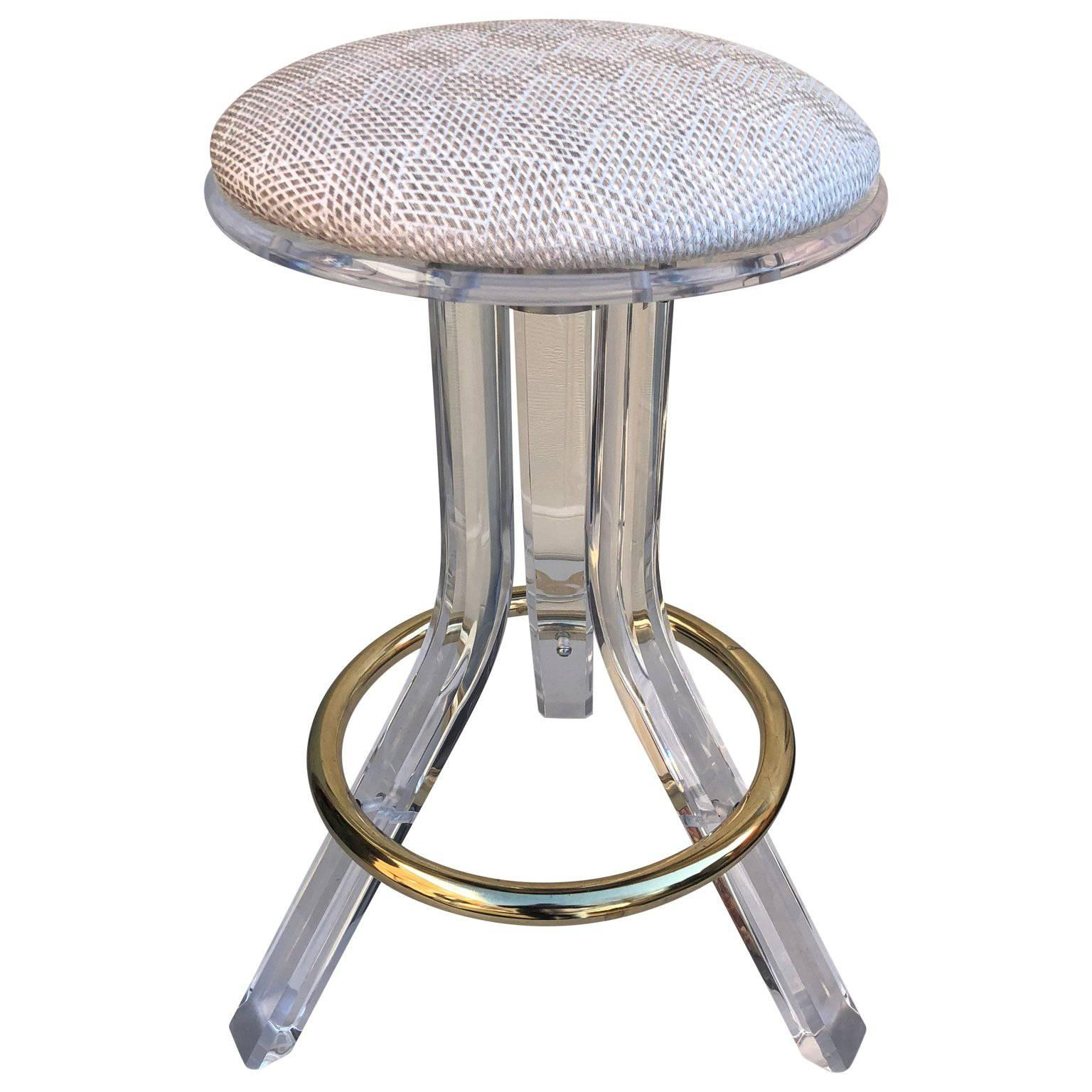 single 1970s lucite vanity or bar stool with brass hardware for sale